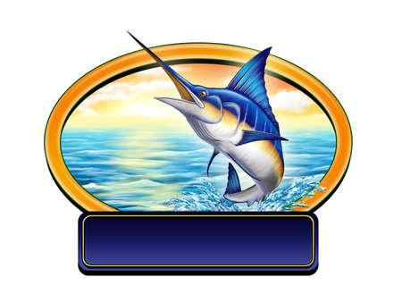 pez espada: Marling saltando fuera del agua en una etiqueta con copia-espacio. Ilustración digital.