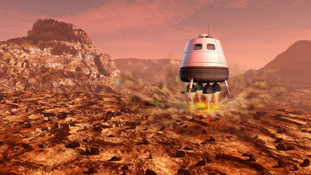 red mountain open space: Space module landing on Mars surface. Digital illustration.