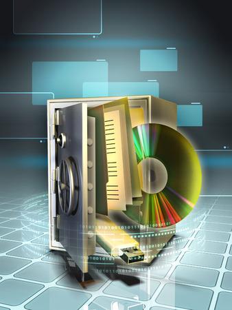 stored: Digital media stored in a safe. Digital illustration. Stock Photo