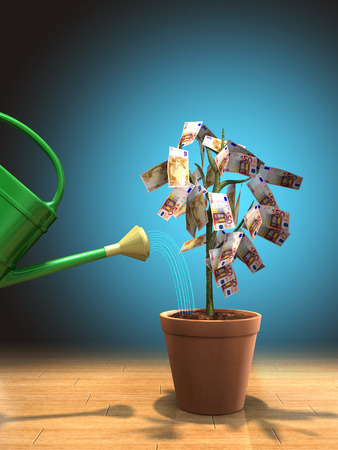 Watering a money plant in a pot. Digital illustration. Stock Photo
