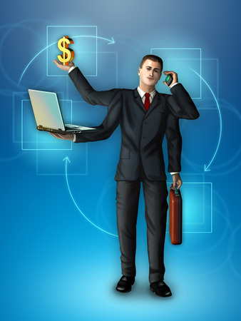 Businessman with multiple arms holding a briefcase, smartphone, notebook and dollar symbol. Digital illustration. illustration