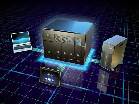meseros: Varios dispositivos conectados a una red de almacenamiento conectado. Ilustración digital.