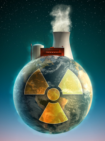 rising dead: Big nuclear power plant on top of the Earth. Digital illustration. Stock Photo