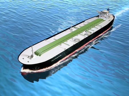 bulk carrier: Oil tanker cruising in the ocean. Digital illustration. Stock Photo