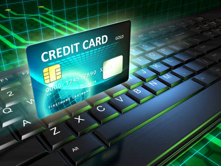 secure payment: A credit card as an on-line payment tool. Digital illustration. Stock Photo