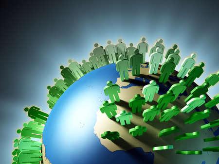 población: Mundo aumento de la población y el hacinamiento de la Tierra. Ilustración digital.