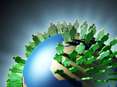 world group: World population rise and Earth overcrowding. Digital illustration. Stock Photo