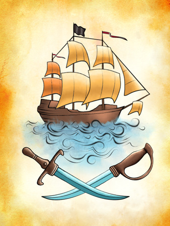 galleon: Pirate ship drawing on an old piece of stained paper. Digital illustration. Stock Photo