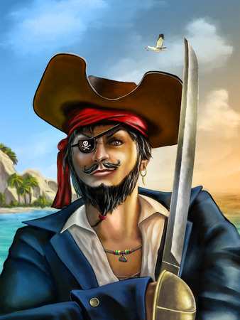 Portrait of a male pirate on a seascape at sunset. Digital hand painted illustration. illustration