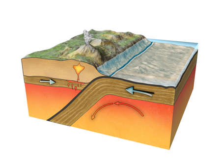 crust: Convergent plate boundary created by two continental plates that slide towards each other. Digital illustration. Stock Photo