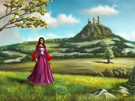 rolling: Young princess walking in a beautiful country landscape. A castle overlooks the scene from a nearby hill. Digital illustration.