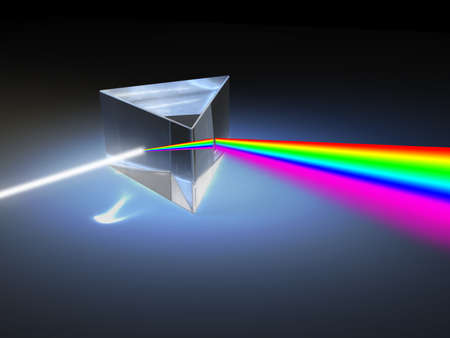 Optical prism refracting a ray of white light. Digital illustration.