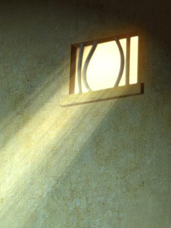 prison break: Sunlight entering through a broken prison window. Digital illustration.