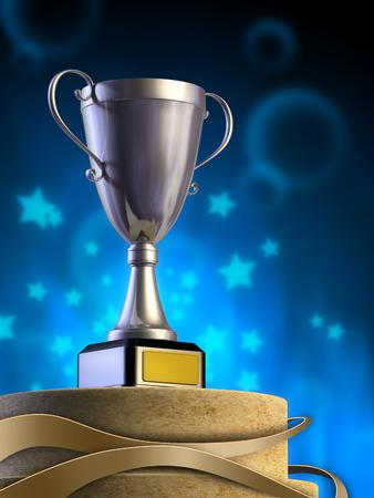 Metal cup on a pedestal. Digital illustration. illustration