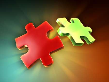 backlighting: Two puzzle pieces with some back-lighting creating beautiful light rays. Digital illustration. Stock Photo