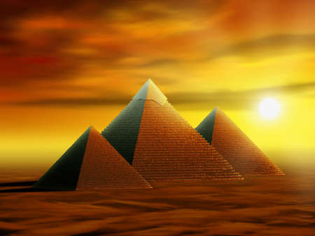 Some ancient pyramids in a desert at sunset. Digital illustration.