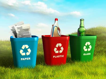 reciclaje de papel: Contenedores de basura de colores utilizados para reciclar papel, plástico y vidrio. Ilustración digital. Foto de archivo