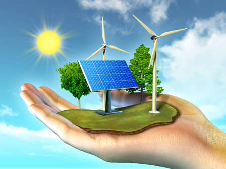 energy conservation: Renewable energy sources Stock Photo