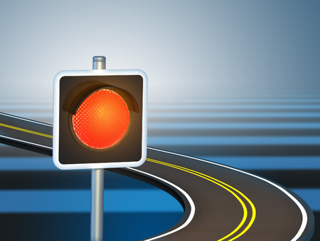 curved road: Red traffic light over a curved road. Digital illustration. Stock Photo