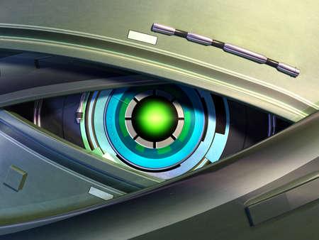 Close-up on a robotic eye. Digital illustration. illustration