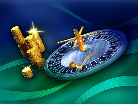 spinning wheel: Roulette wheel and some gold coins on a blue and green background. Digital illustration.