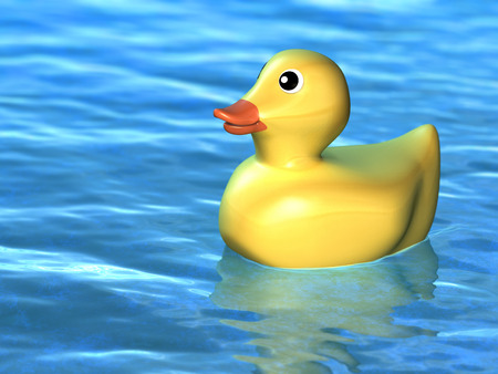 Cute toy duck floating on a water surface. Digital illustration. illustration