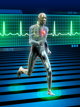 beat the competition: Conceptual image of a running man and its heart rhythm. Digital illustration.