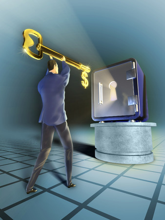 safe deposit box: Businessman with a giant golden key is trying to open a safe. Digital illustration.