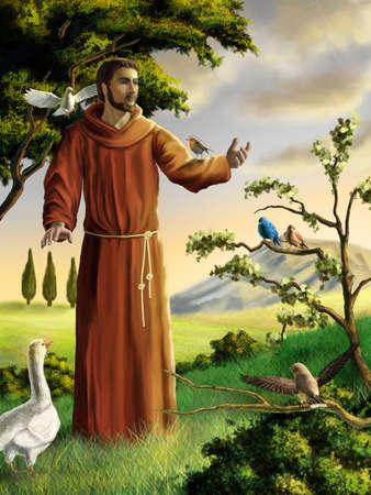 Heiliger Franziskus predigt den Vögeln in einer wunderschönen Landschaft. Digitale Illustration. Lizenzfreie Bilder