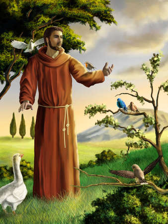 Saint Francis preaching to birds in a beautiful landscape. Digital illustration.