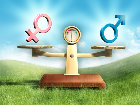 man and woman sex: Male and female symbols on a balance scale. Digital illustration.