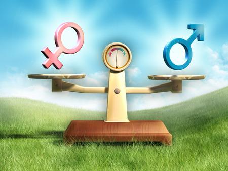 sex man: Male and female symbols on a balance scale. Digital illustration.