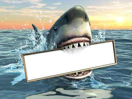 bites: A shark holding a billboard in his mouth. Copyspace available to insert your own textimages. Digital illustration. Stock Photo