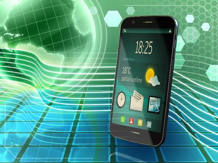 gprs: Generic smartphone over an high technology background. Digital illustration.