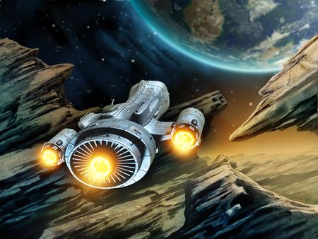 fantasy world: Futuristic spaceship travelling over a rocky alien planet. Digital illustration.