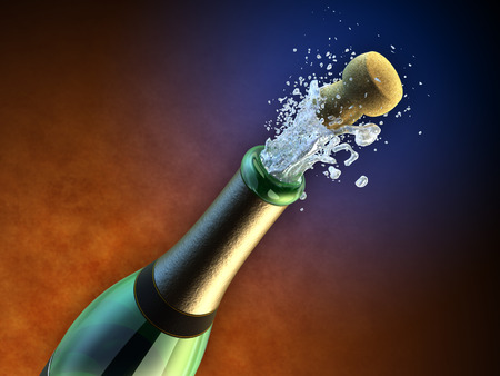 Opening of a champagne bottle during a party. Digital illustration. illustration