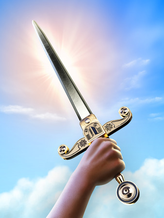 digital illustration: Male hand holding a short sword over a bright sky background, clipping path allows to separate hand and sword from background. Digital illustration.