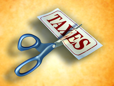 Some scissors are cutting a piece of paper with the word taxes. Digital illustration. Included clipping path allows to isolate objects from background. illustration