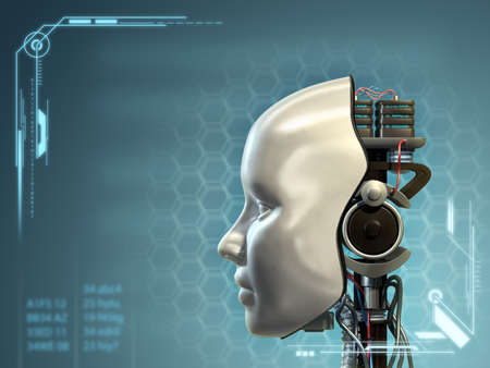 futuristic woman: An android has part of his head mask removed, revealing its inner technology. Digital illustration. Stock Photo