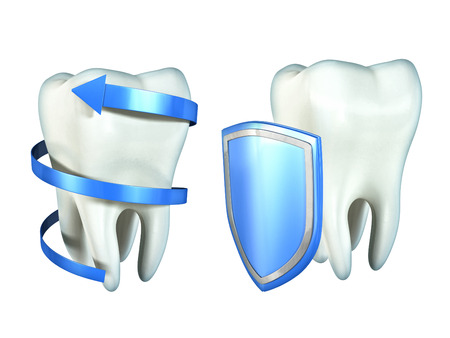 carious: Two molar teeth protected by a spiralling arrow and a shield. Digital illustration, clipping path included. Stock Photo