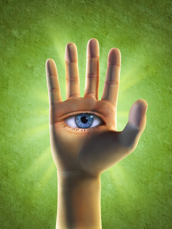 third eye: Open eye in hand. Digital illustration, clipping path included.