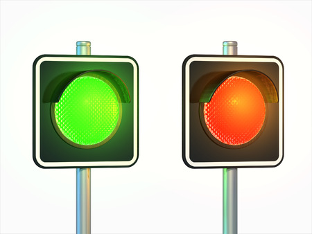 Red and green traffic lights over a white background. Digital illustration, clipping path included. Stock Photo