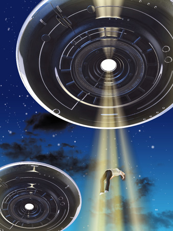 Alien spaceship kidnapping an human female. Digital illustration. illustration