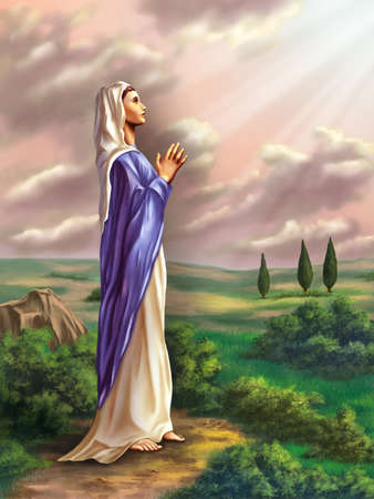 maria: Virgin Mary praying in a beautiful country landscape. Original digital illustration.