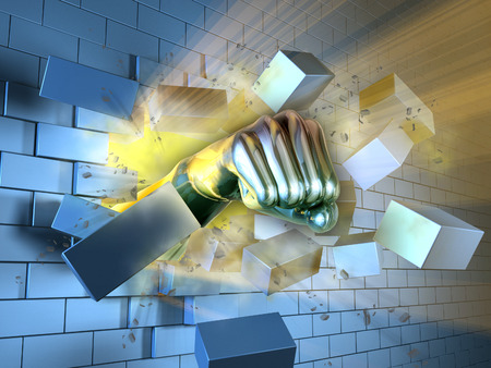 destroy: A metallic fist breaking through a brick wall. Digital illustration. Stock Photo