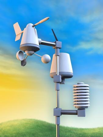 pluviometro: Estación meteorológica inalámbrica que incluye un anemómetro, un pluviómetro y un sensor de temperatura. Ilustración digital.