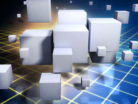 decode: Different sized white cubes float in a digital dimension on a blue and yellow background. Digital illustration.