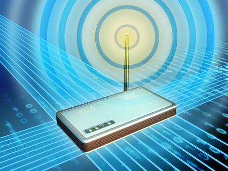 wlan: Wireless modem transmitting digital data. Digital illustration.
