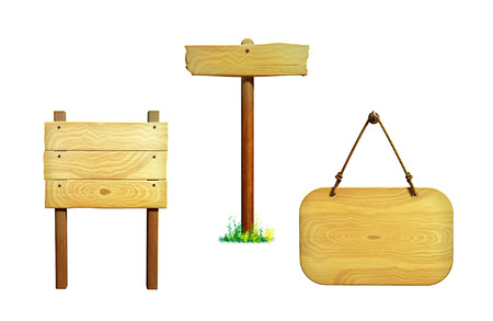 Various wooden signs, clipping path included. Digital illustration. illustration