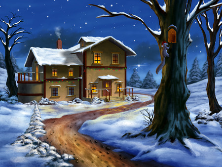 religious christmas: A nice cottage in a wonderful christmas landscape. Hand painted illustration.